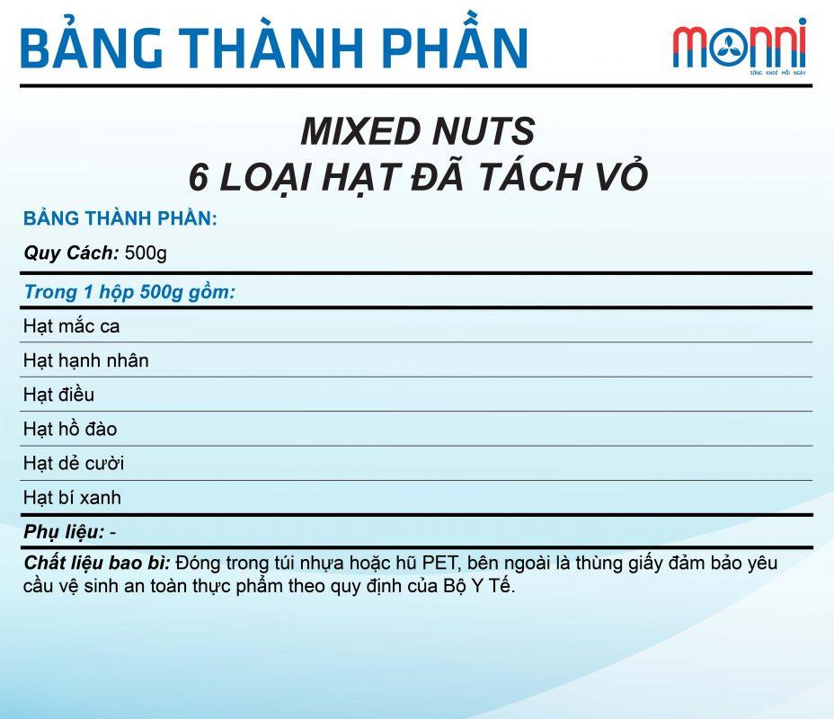 Mixed Nuts 6 Loai Hat Da Tach Vo