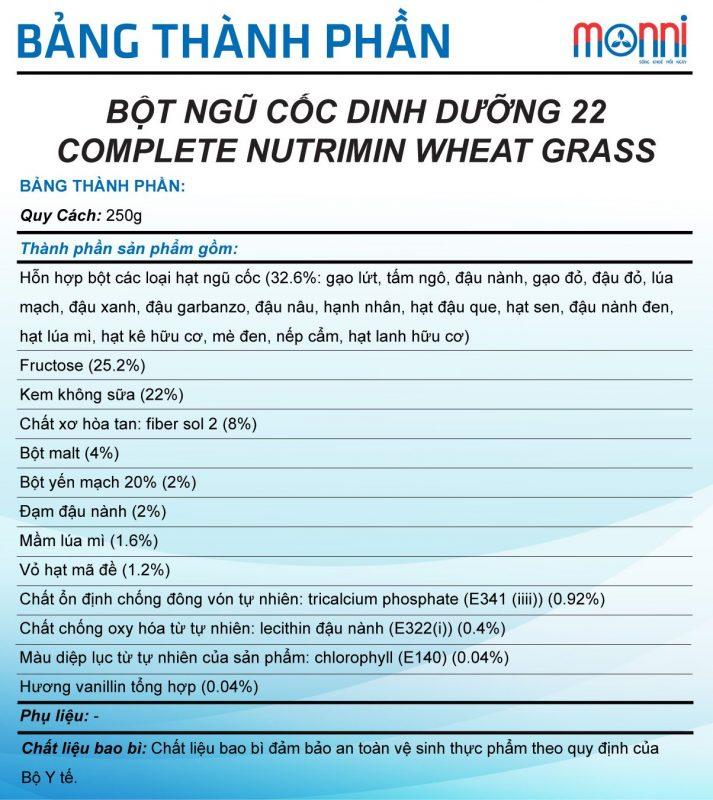 Complete Nutrimin Wheat Grass 250g.2