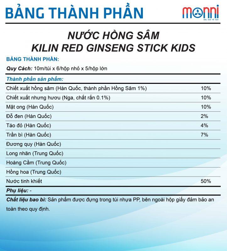 Nuoc Hong Sam Kilin Red Ginseng Stick Kids