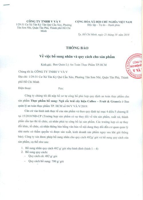 BỔ Sung NhÃn & QcÁch Calbee (482g,700g) 20.95,2020 01