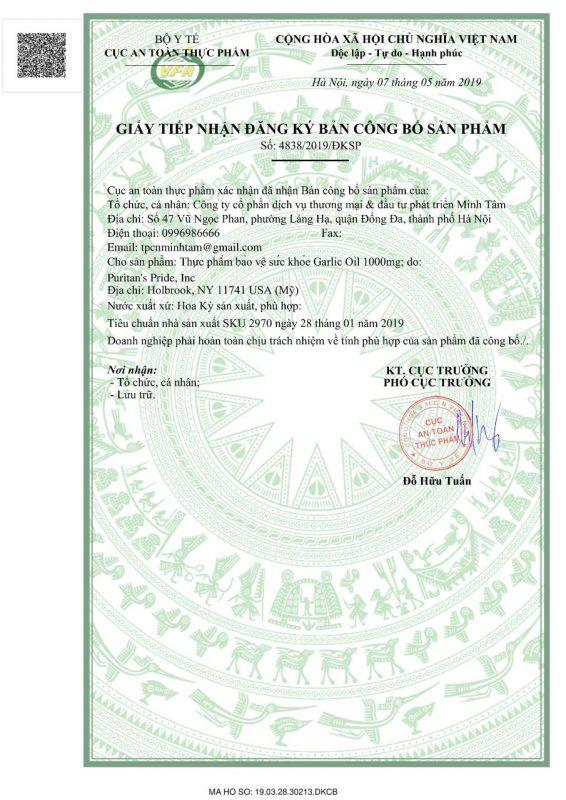 Garlic Oil 1000mg 100 Vien Puritan's Pride Usa Cb