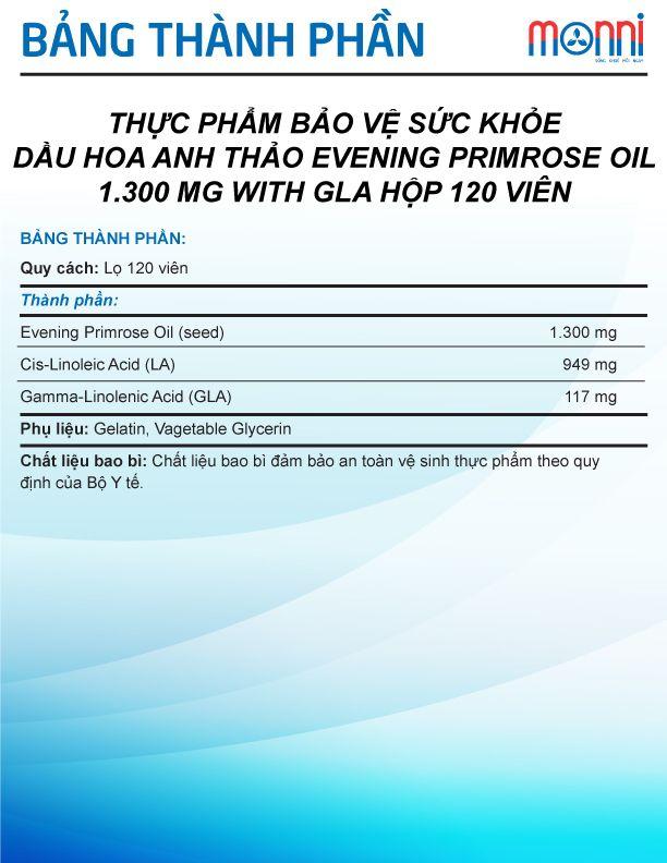 Pride Evening Primrose Oil 1 300 Mg With Gla Hop 120 Vien