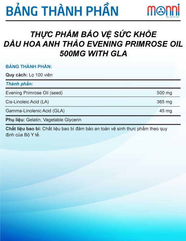 Pride Evening Primrose Oil 500 Mg With Gla Hop 100 Vien
